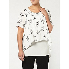 Evans - Ivory 'busty fit' printed top