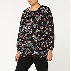 Evans - Black floral printed blouse