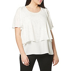 Evans - Ivory foil butterfly print top