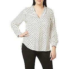 Evans - Ivory spot print shirt