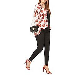 Evans - Red poppy print kimono