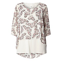Evans - Ivory butterfly print overlay top