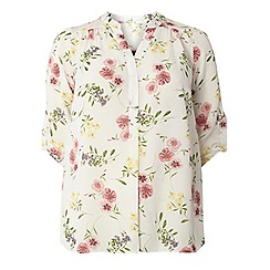 Evans - Ivory busty fit floral shirt