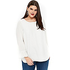 Evans - Ivory pearl trim sleeves top