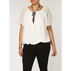 Evans - Ivory bubble hem gypsy top