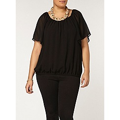 Evans - Black bubble hem gypsy top