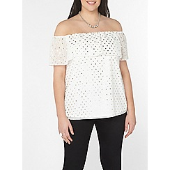 Evans - Ivory foil print gypsy top