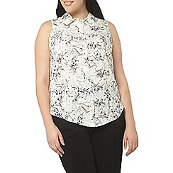 Evans - Ivory floral sleeveless shirt