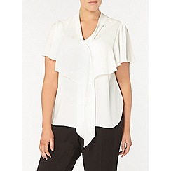Evans - Ivory pussy bow top