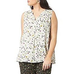 Evans - Ivory floral sleeveless top