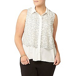 Evans - Ivory lace overlay shirt
