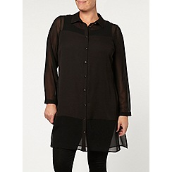 Evans - Black panel fashion shirt