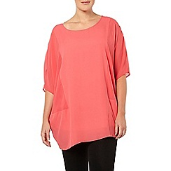 Evans - Cranberry sheer panel top