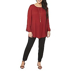 Evans - Red frill cuff tunic