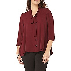 Evans - Busty fit red tie neck top