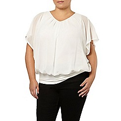 Evans - Ivory cape bubble hem top