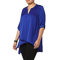 Evans - Blue satin asymetric shirt
