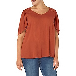 Evans - Rust lace up back top