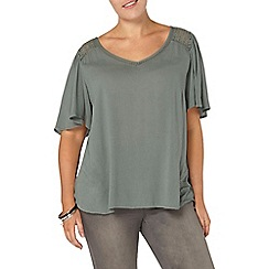 Evans - Green lace up back top