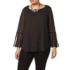 Evans - Black bell sleeve gypsy top