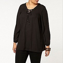 Evans - Black lace up neck blouse