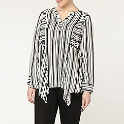 Evans - Ivory and black stripe shirt