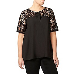 Evans - Black lace detail top
