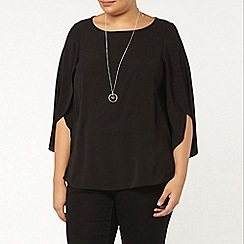 Evans - Black fluted sleeve top