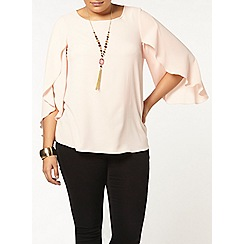 Evans - Pink fluted sleeve top