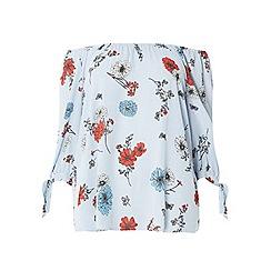 Evans - Ivory floral stripe bardot top