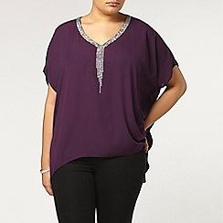 Evans - Purple woven stud detail top