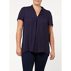 Evans - Navy pleat front top