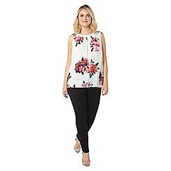 Evans - Ivory floral embellished top