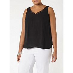 Evans - Black lace trim cami top