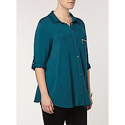 Evans - Teal zip jersey shirt