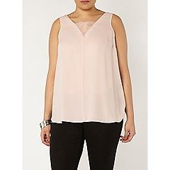 Evans - Pink lace detail vest