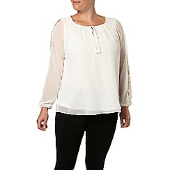 Evans - Ivory lace insert gypsy top