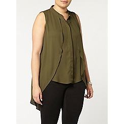 Evans - Collection khaki drape front blouse