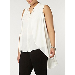 Evans - Collection ivory drape front blouse