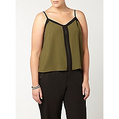 Evans - Collection khaki zip front cami top