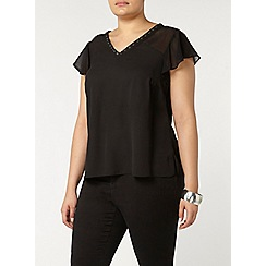 Evans - Collection black eyelet detail top