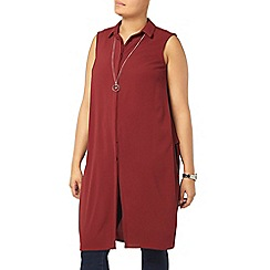 Evans - Claret crepe longline shirt