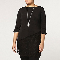 Evans - Collection black lace hem tunic