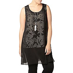 Evans - Black printed overlay tunic