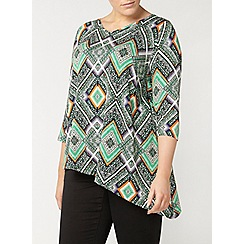 Evans - Green aztec print asymmetric top
