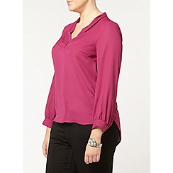 Evans - Pink pleat neck busty fit  shirt