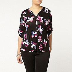 Evans - Black floral busty fit shirt