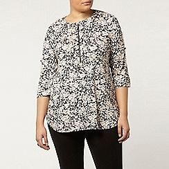 Evans - Floral print zip jersey shirt