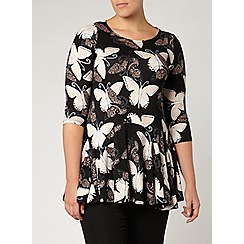 Evans - Black butterfly print tunic