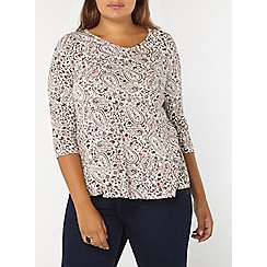 Evans - Ivory and rust printed top